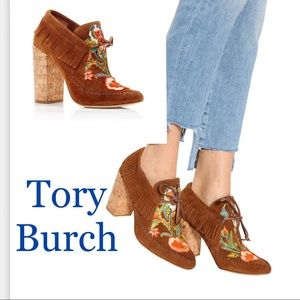 Tory Burch Embroidered Beaded Fringe Suede Bootie
